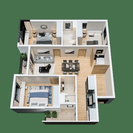 Căn 3 phòng ngủ mẫu 01 dự án The Zen Residence