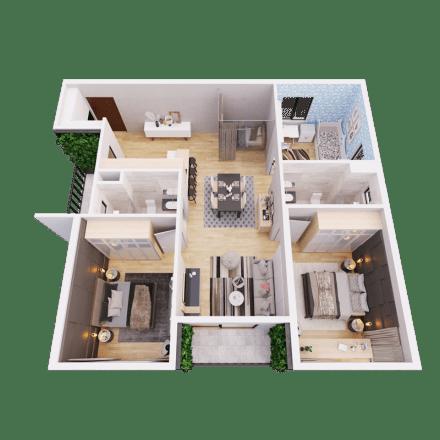 Căn 3 phòng ngủ mẫu 02 dự án the Zen Residence