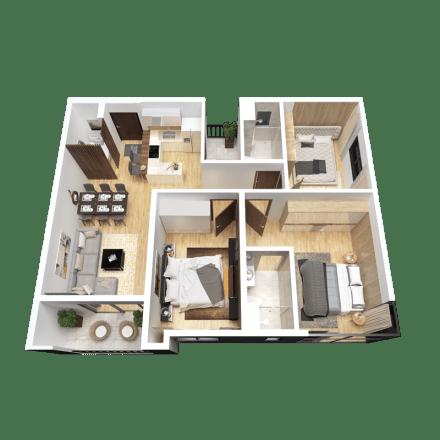 Căn 3 phòng ngủ mẫu 04 dự án the Zen Residence